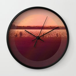 Vintage Coral Sunset, Winter Beach Wall Clock