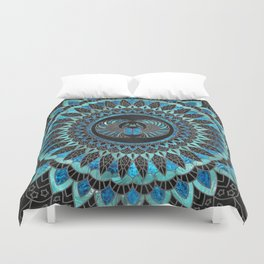 Egyptian Scarab Beetle - Gold and Blue glass Duvet Cover