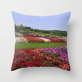 Floral patchwork under a blue sky Throw Pillow