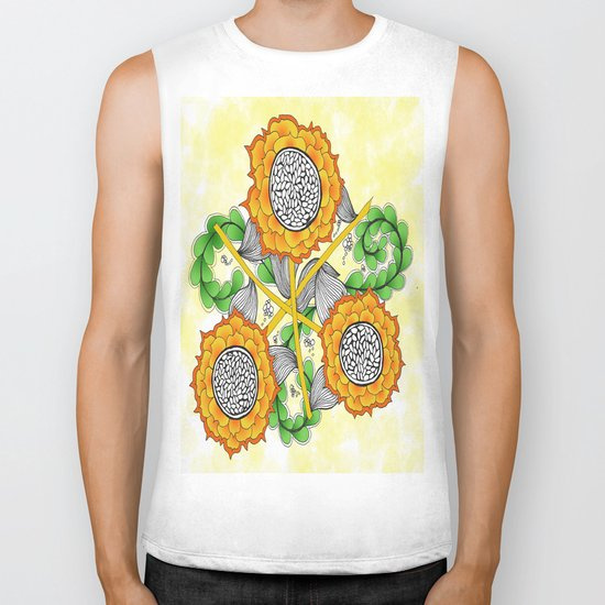 Zentangle Happy Yellow and Orange Sunflowers Biker Tank