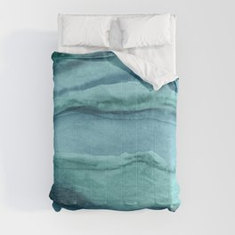 Watercolor Agate - Teal Blue Comforters