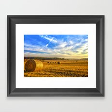 Hay Bales in Autumn Sun Framed Art Print