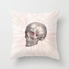 Abstract Gray Vintage Skull Modern Pink Stripes Throw Pillow