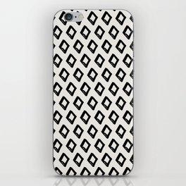 Modern Diamond Pattern 2 Black on Light Gray iPhone Skin