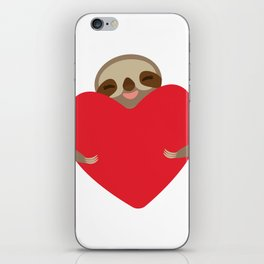 Valentines day card. Funny sloth with a red heart iPhone Skin