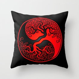Red and Black Tree of Life Yin Yang Throw Pillow