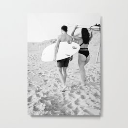 Coastal surf photography print | surfer couple in black and white | Wanderlust wall art Metal Print