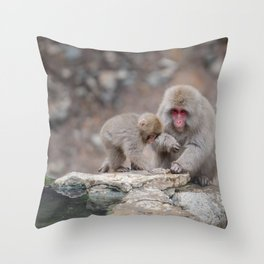 Snow Monkey Throw Pillow