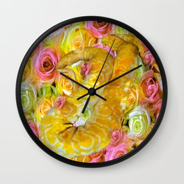 PYTHON SNAKE ROSES AND DANGER Wall Clock