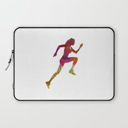 Woman runner running jogger jogging silhouette 02 Laptop Sleeve
