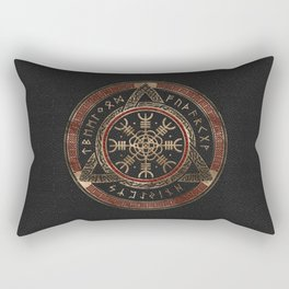 The Helm of Awe  Black and Red Leather and gold Rectangular Pillow