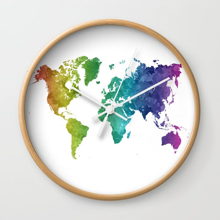 Clock World Map.World Map In Watercolor Rainbow Wall Clock By Paulrommer Society6
