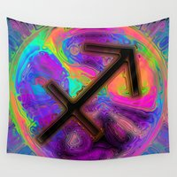 sagittarius Wall Tapestries featuring Sagittarius by Synesthetic