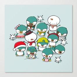 Kawaii Penguins Canvas Print