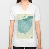 ohio state V-neck T-shirts featuring Ohio State Map Blue Vintage by City Art Posters