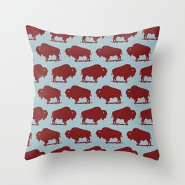 Buffalo Bison Pattern 262 Burgundy and Blue Throw Pillow