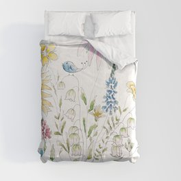 wild flowers and blue bird _ink and watercolor 1 Comforters