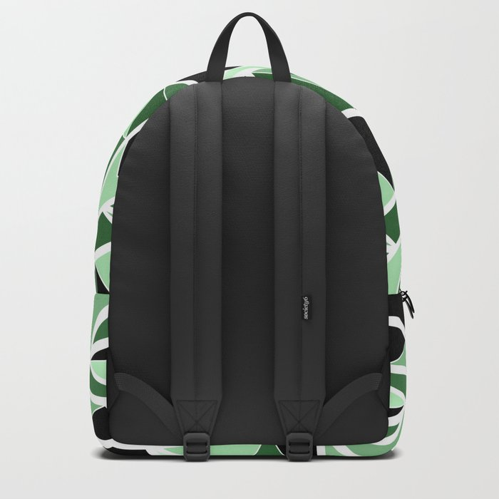 Abstract geometric pattern in black and green tones .Triangles . Backpack