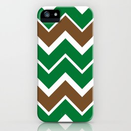 Big Chevron:  Kelly Green + Chocolate Brown iPhone Case