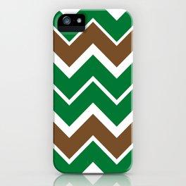 Big Chevron:  Kelly Green + Chocolate Brown iPhone Case