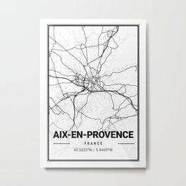 Aix - En Provence Light City Map Metal Print