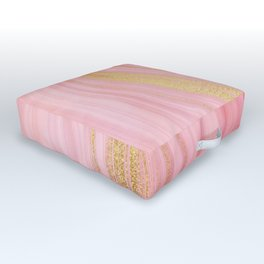 Walk with the waves - Pink and Gold Mermaid Marble Outdoor Floor Cushion