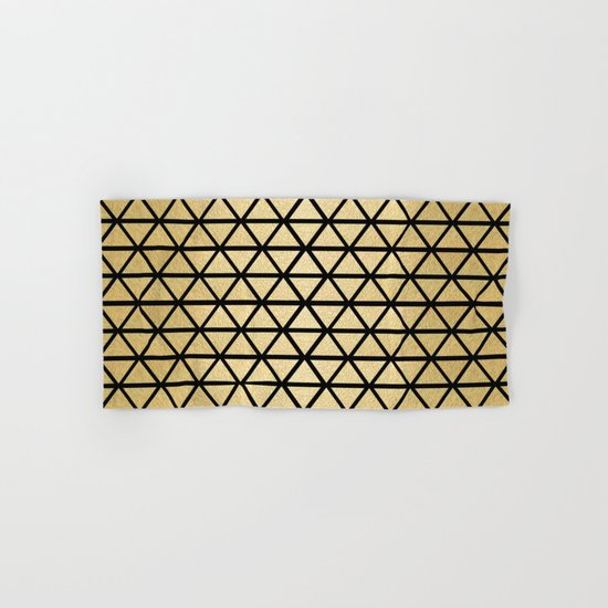Black and Gold Geometric Pattern 3 Hand & Bath Towel