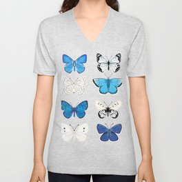 Butterflies - blue and white, butterfly art, blue and white art, butterfly sticker, butterflies Unisex V-Neck