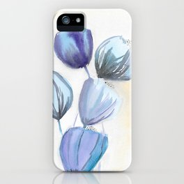Blue bell flowers watercolor painting romantic something blue iPhone Case