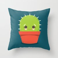 kawaii Throw Pillows featuring Kawaii Cactus Dude by Steph Dillon