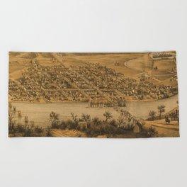 Vintage Pictorial Map of Fredericksburg VA (1863) Beach Towel