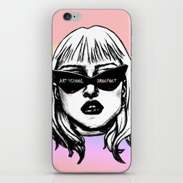 Art School Dropout Punk Girl in Sunglasses Pastel Background iPhone Skin