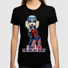 I Want You Roller Derby Art Womens Fitted Tee MEDIUM Black