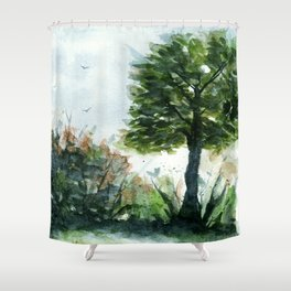 A Lovely Day, Abstract Landscape Art Shower Curtain