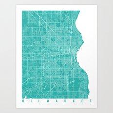 milwaukee map turquoise Art Print