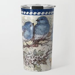 Vintage Blue Birds Travel Mug