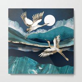 Midnight Cranes Metal Print