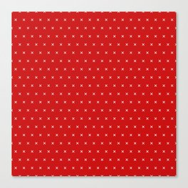Red and White cross sign pattern Canvas Print