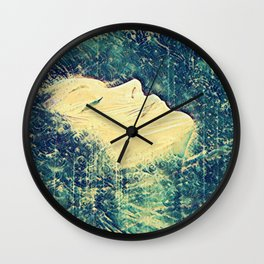 Vintage Bright Blue Ocean Wave Surfer Girl Fine Art Wall Clock