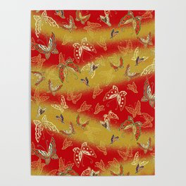 Red and Gold butterflies pattern Poster