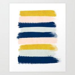 Esther - navy mint gold painted stripes brushstrokes minimal modern canvas art painting Art Print