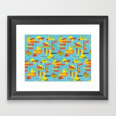 Abstract Boats inspired by midcentury 1950s design Framed Art Print