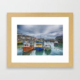 Boats in Mevagissey Harbour. Framed Art Print