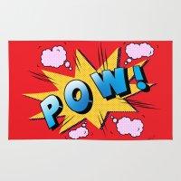 superheroes Area & Throw Rugs featuring superheroes by mark ashkenazi