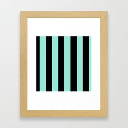 Classic Cabana Stripes in Mint + Black Framed Art Print