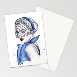 Woman in blue Stationery Cards