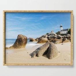 Lighthouse on Brittany Beach Serving Tray