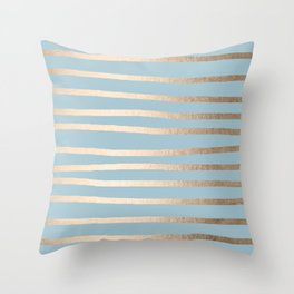 Abstract Drawn Stripes Gold Tropical Ocean Sea Blue Throw Pillow