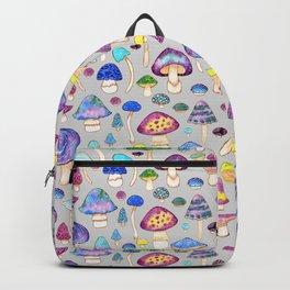 Watercolor Mushroom Pattern on Gray Backpack