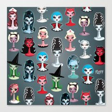Spooky Dolls Pattern Canvas Print